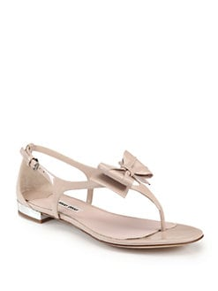 Miu Miu - Patent Leather Bow Thong Sandals