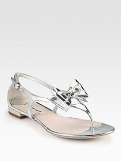 Miu Miu - Metallic Leather Bow Thong Sandals