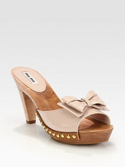 Miu Miu - Patent Leather Bow Wooden Platform Sandals