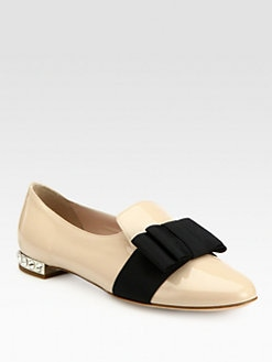 Miu Miu - Patent Leather Bow & Rhinestone-Heel Smoking Slippers