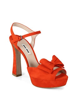 Miu Miu - Suede Bow Platform Sandals