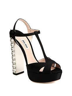 Miu Miu - Satin T-Strap & Rhinestone-Heel Sandals