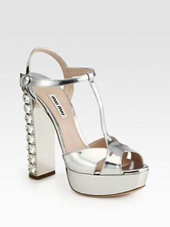 Miu Miu - Metallic Leather T-Strap & Crystal-Heel Sandals