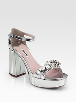 Miu Miu - Metallic Leather Jeweled Platform Sandals