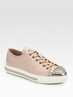 Miu Miu - Studded Patent Leather Lace-Up Sneakers
