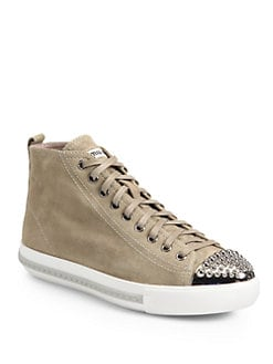 Miu Miu - Studded Suede High Top Sneakers