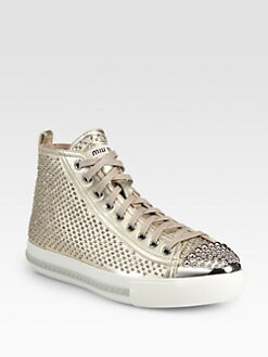 Miu Miu - Studded Metallic Leather Sneakers