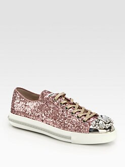 Miu Miu - Glitter Jeweled Lace-Up Sneakers