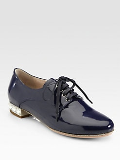 Miu Miu - Patent Leather Jeweled Heel Lace-Up Oxfords