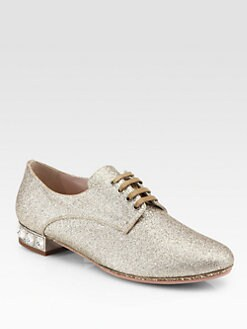 Miu Miu - Glitter Jeweled Heel Oxfords