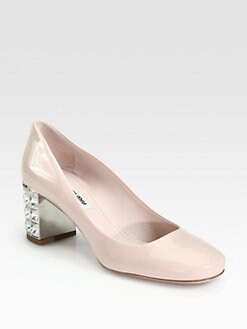 Miu Miu - Patent Leather Crystal Heel Pumps
