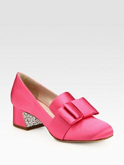 Miu Miu - Satin Bow & Glitter-Heel Loafer Pumps