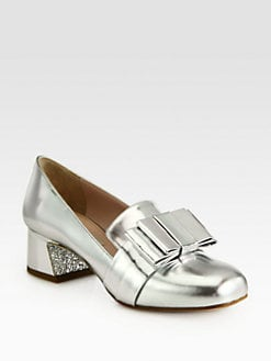Miu Miu - Metallic Leather Bow & Glitter-Heel Loafer Pumps