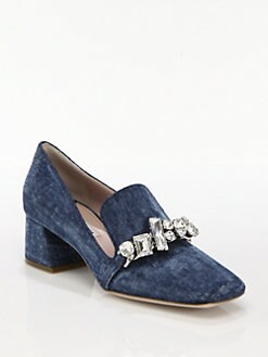 Miu Miu - Jeweled Denim Loafer Pumps