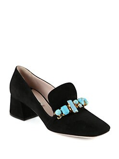 Miu Miu - Stone-Detail Suede Loafers