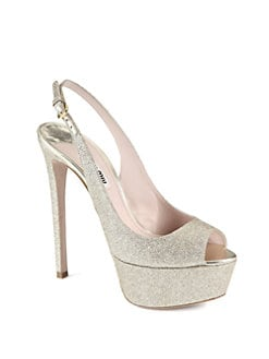 Miu Miu - Glitter Slingback Platform Pumps