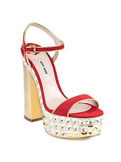 Miu Miu - Suede & Metallic Leather Jeweled Heel Sandals