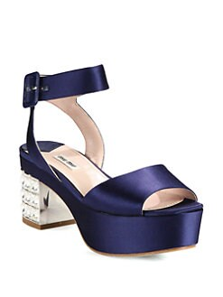Miu Miu - Satin Jeweled Heel Platform Sandals