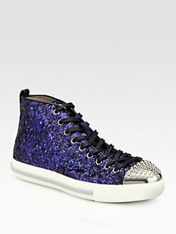 Miu Miu - Studded Glitter High Top Sneakers