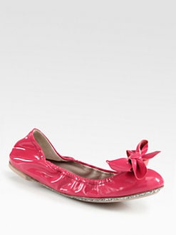 Miu Miu - Patent Leather & Glitter Bow Ballet Flats