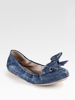 Miu Miu - Washed Denim Bow Ballet Flats