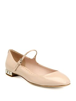 Miu Miu - Patent Leather Rhinestone-Heel Mary Jane Flats