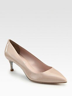 Miu Miu - Patent Leather Glitter Heel Pumps