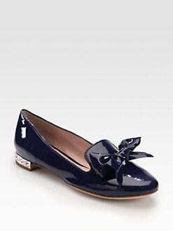 Miu Miu - Jeweled Patent Leather Bow Smoking Slippers