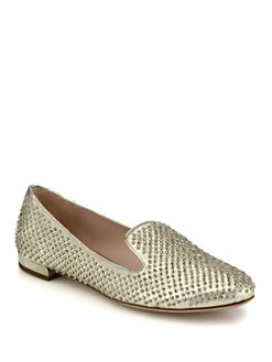 Miu Miu - Micro Stud Nappa Leather Smoking Slippers