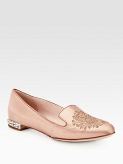 Miu Miu - Embroidered Satin Damask Crest Smoking Slippers