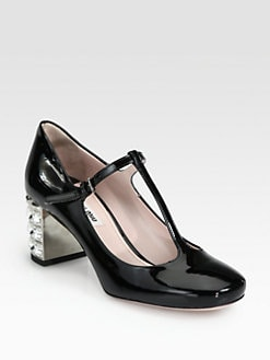 Miu Miu - Patent Leather T-Strap Mary Pumps