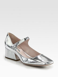 Miu Miu - Metallic Leather Mary Jane Pumps