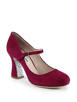 Miu Miu - Suede Glitter-Heel Mary Jane Pumps