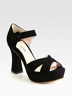 Miu Miu - Suede Crisscross Platform Sandals