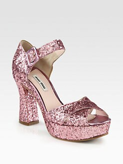 Miu Miu - Glitter Crisscross Platform Sandals