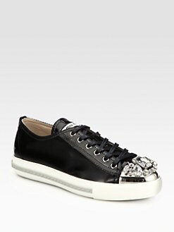 Miu Miu - Patent Leather Jeweled Lace-Up Sneakers