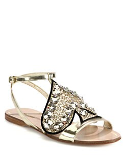 Miu Miu - Glitter Spade Metallic Leather Sandals