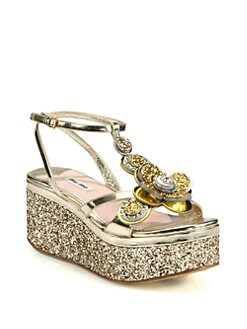Miu Miu - Glitter-Coated Flower & Metallic Leather Wedge Sandals