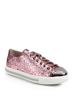 Miu Miu - Studded Glitter Lace-Up Sneakers
