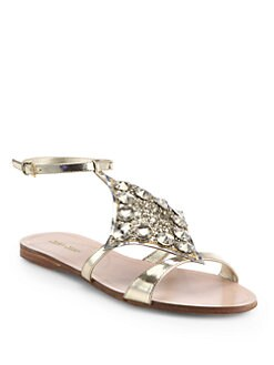 Miu Miu - Jeweled Glitter & Metallic Leather Sandals