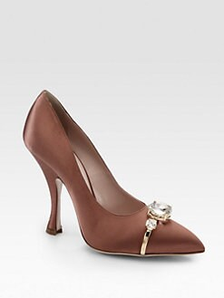 Miu Miu - Jeweled Satin Pumps