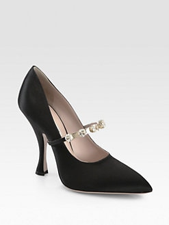 Miu Miu - Jeweled Satin Mary Jane Pumps