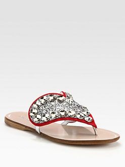 Miu Miu - Glitter Crystal-Coated Heart Thong Sandals