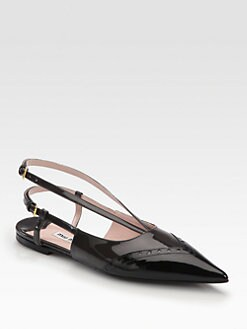 Miu Miu - Perforated Patent Leather Slingback Flats