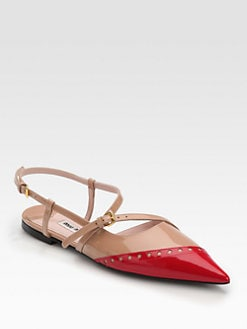 Miu Miu - Bicolor Patent Leather Slingback Flats