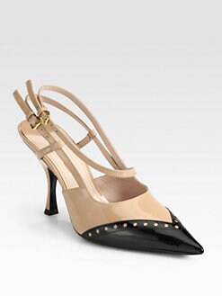 Miu Miu - Bicolor Patent Leather Slingback Pumps