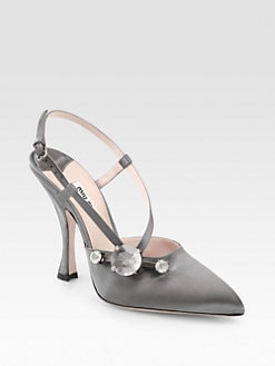 Miu Miu - Jeweled Satin Slingback Pumps