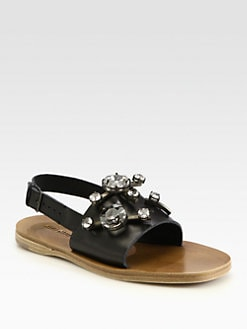 Miu Miu - Jeweled Leather Slingback Sandals