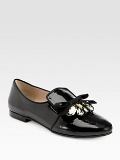 Miu Miu - Embellished Patent Leather Bow Smoking Slippers
