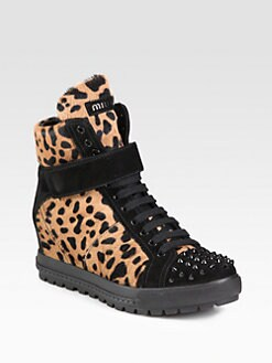 Miu Miu - Calf Hair and Studded Suede Wedge Sneakers